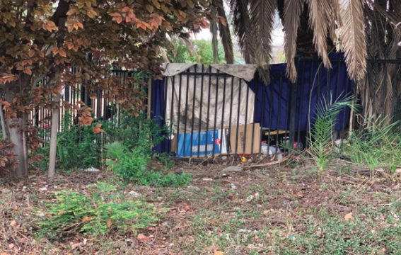 Living Rough: Homeless have set up an encampment located near the Stockton DMV office. (Photo by Alisa Aistrup)