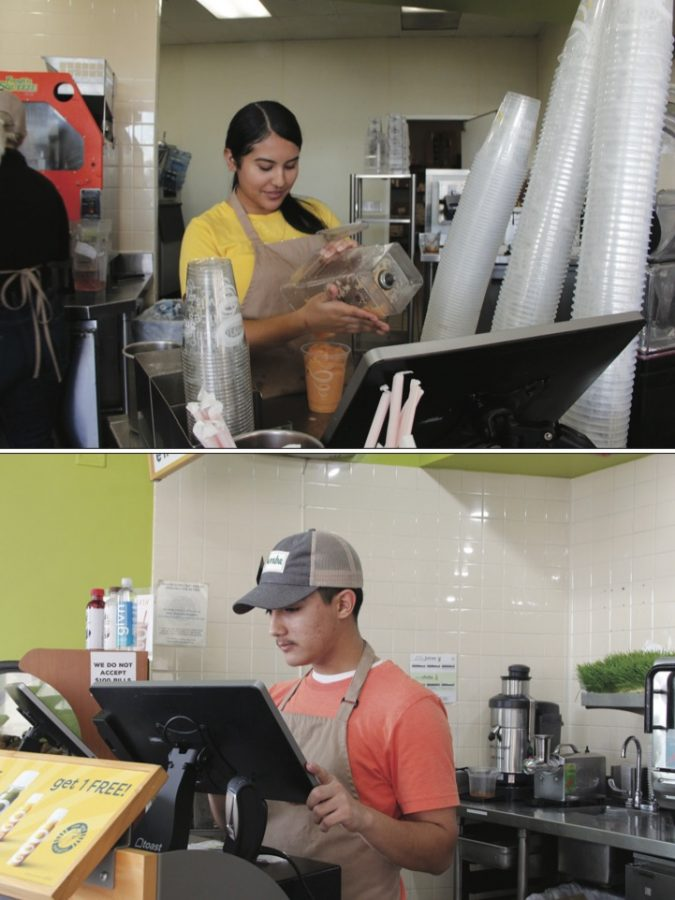 Jamba Job: (Top to bottom) Junior Jazleen Herrera and senior Chris Lara work at Jamba Juice in Trinity Parkway where they learn entry-level skills.