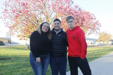 (from left to right) Foreign exchange students Giorgia Pistorio (Italy), Eduardo Guerrero (Mexico) and Benjamin Jolis (Belgium).